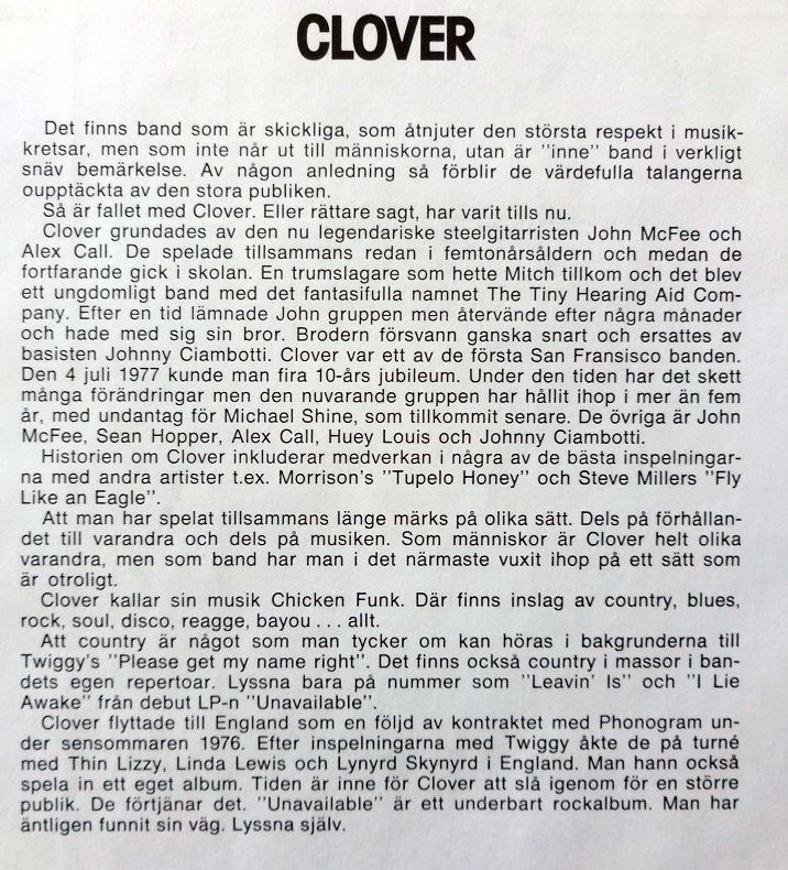 Swedish Liner Notes Clover EP